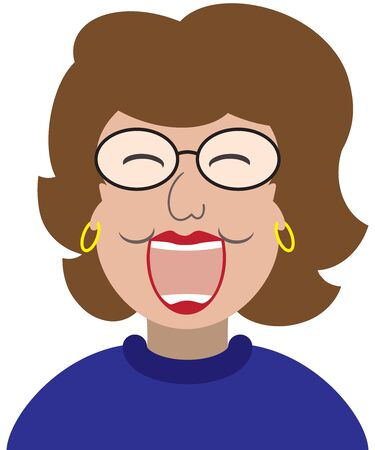 A flat vector cartoon woman is laughing at something funny