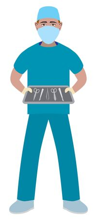 A flat vector male surgical nurse is holding a tray of sterile instruments