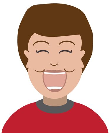 A flat vector cartoon boy in a red shirt is laughing