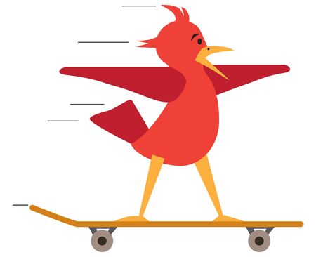 A flat vector red cartoon bird is taking a wild ride on a skateboard