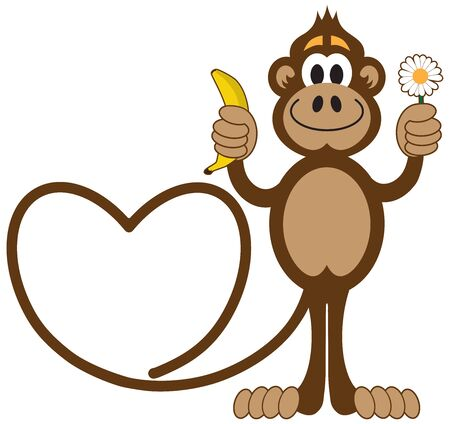 A cartoon monkey with a tail in the shape of a heart is offering love gifts Ilustração