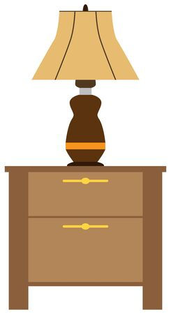 A flat vector lamp is resting on a wooden night stand Illustration