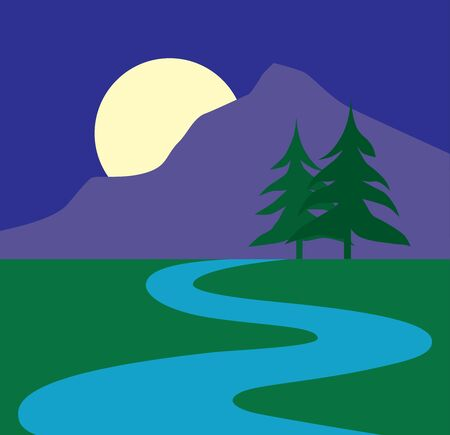 The moon is rising over a mountain with a stream in the foreground