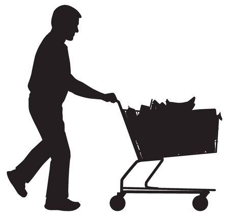 A man in silhouette is pushing a shopping cart full of groceries