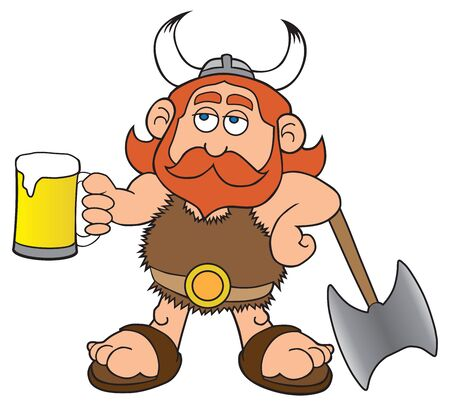 A cartoon viking is leaning on his battle axe and enjoying a beer