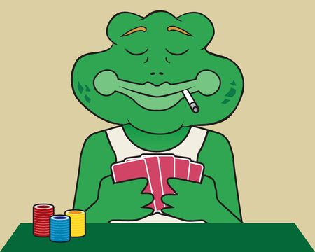 A frog smoking a cigarette is studying his poker hand