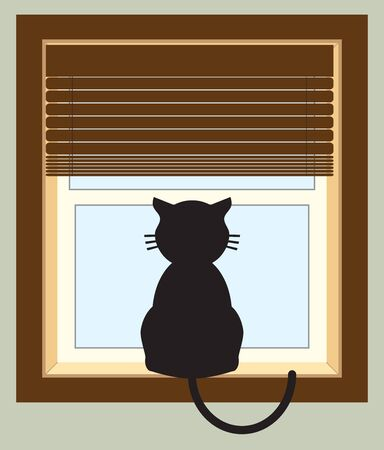 A cartoon kitty is sitting on a window sill staring outside Ilustração