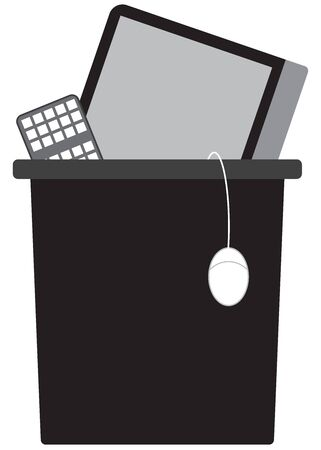 Someone has tossed their desktop computer into the trash Ilustração