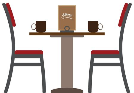 Two chairs on either side of a table in a coffee shop