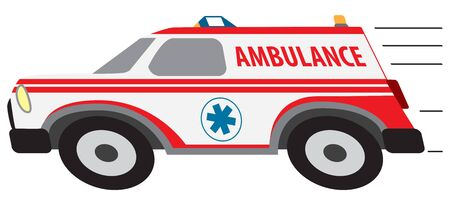 A cartoon ambulance is speeding to a medical emergency Ilustração