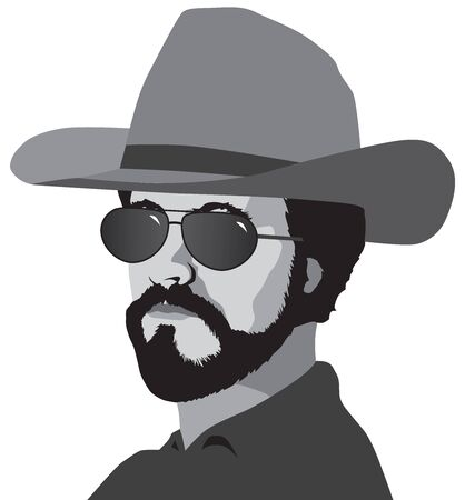 A drugstore cowboy wearing a hat and sunglasses is looking toward the viewer