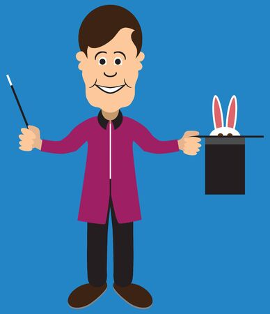 A flat vector cartoon magician is trying to coax a rabbit out of his hat
