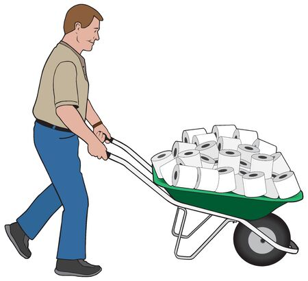 A happy man is wheeling a large load of toilet paper in his wheelbarrow