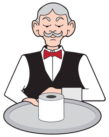 A stuffy cartoon waiter is presenting a roll of toilet paper on a silver platter Çizim