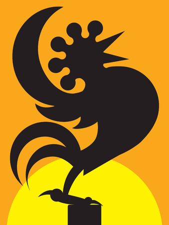 A cartoon rooster in silhouette is crowing at sunrise Ilustração