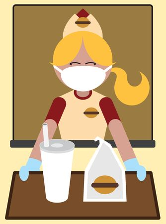A fast food worker wearing a mask and gloves is handing out a meal  イラスト・ベクター素材
