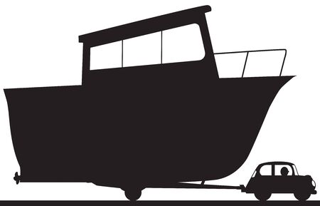 A large cartoon boat is being towed by a very small car in silhouette