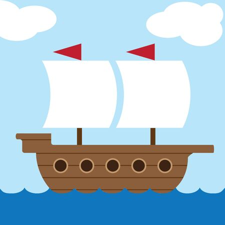 A flat vector ancient sailing ship is cruising across the water