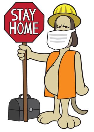 A cartoon construction dog is holding a warning sign and wearing a protective mask