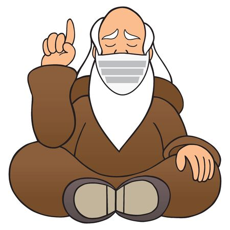 A wise man wearing a protective mask is dispensing wisdom