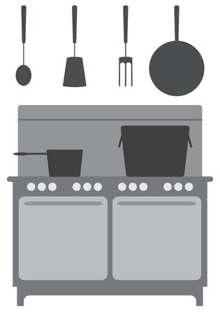 A commercial kitchen complete with hanging utensils and stove