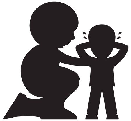 A cartoon mother is comforting her upset child in silhouette Ilustração