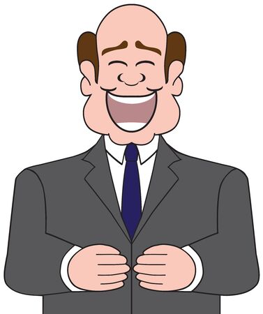 A cartoon businessman is enjoying a hearty laugh