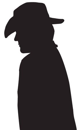A cowboy in silhouette wearing a hat is walking down the street