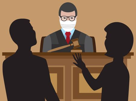 A judge with a protective face mask is listening to two lawyers argue their cases