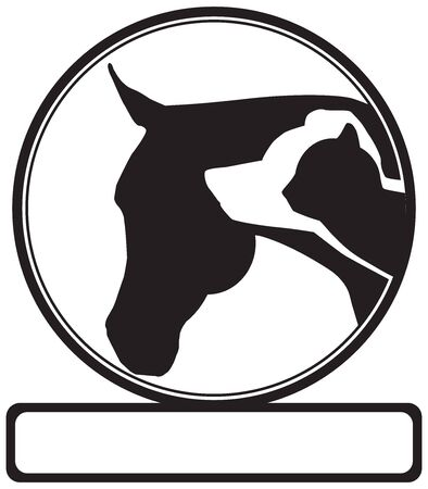 Silhouette images of a cat, dog and horse that can be used for a veterinarian sign