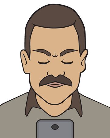 A cartoon man with a mustache is frowning at his cell phone Ilustração
