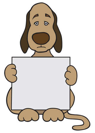 A sad cartoon dog is holding a sign with room for copy