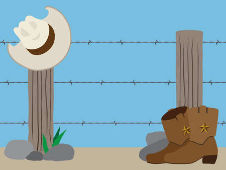A flat vector western barbed wire fence with a cowboy hat and boots