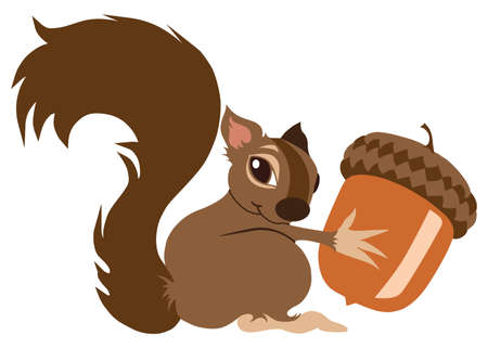 A young flat vector cartoon squirrel is holding on to an acorn