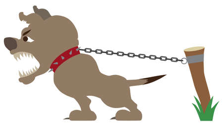 A vicious guard dog is straining at his chain while barking at an intruder Illustration