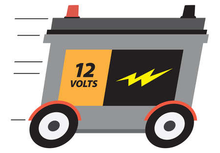 A 12 volt cartoon car battery on wheels is speeding along