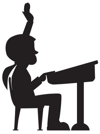A young girl student in silhouette is raising her hand in the classroom