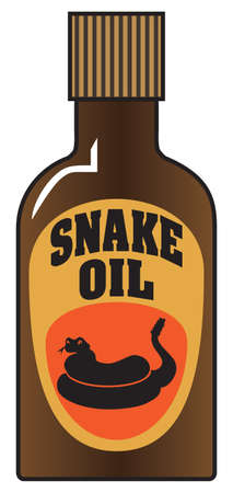 A bottle full of snake oil fake remedy is ready to be consumed