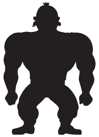 A cartoon muscular guy is standing in silhouette
