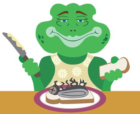 A flat vector cartoon frog mom is preparing a fly sandwich