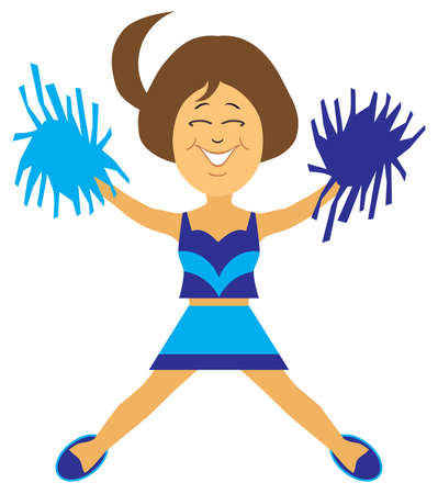 A happy flat vector cartoon cheerleader is leading a victory cheer