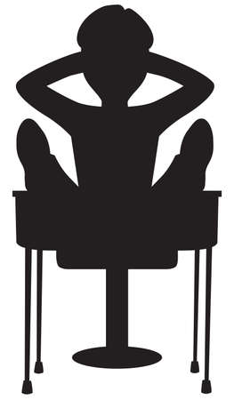 A student slacker with his feet up on his desk in silhouette Ilustração