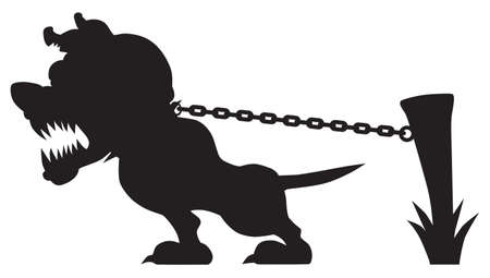 A vicious cartoon guard dog in silhouette is growling and pulling at his chain