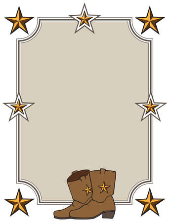 A western themed background frame with cowboy boots, stars and room for copy