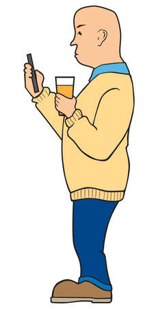 A cartoon bald man is holding a drink and looking at his mobile phone