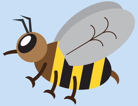 A flat vector cartoon honey bee is flying through the air