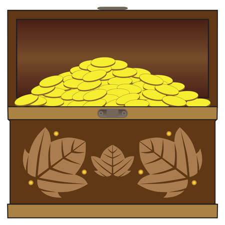 An open wooden treasure chest is overflowing with gold coins