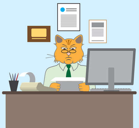 A serious cartoon cat accountant is at his desk doing his work