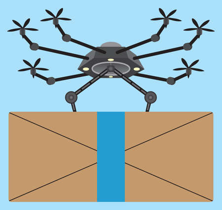 A mechanical remote controlled drone is delivering a package