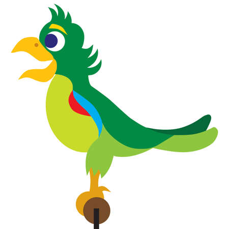 A flat vector colorful cartoon parrot is standing happily on his perch